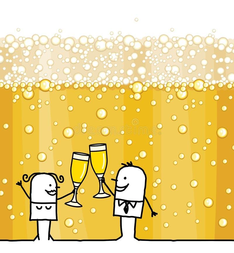 Couples de bande dessinée buvant le fond de Champagne et de bulles illustration libre de droits