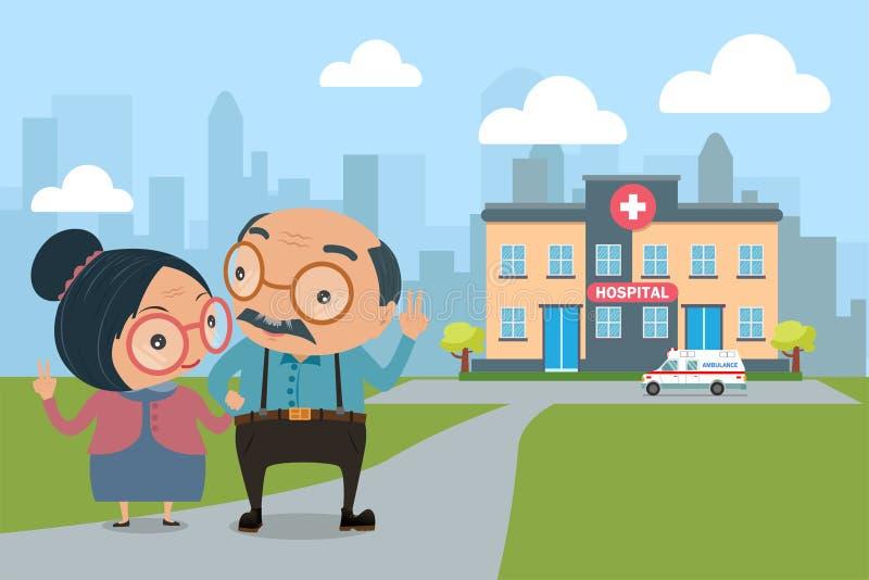 Couples de bel aîné avec des soins de santé conce de santé de personnes âgées illustration de vecteur