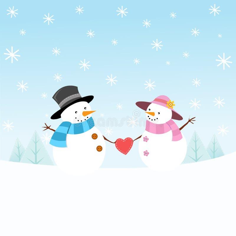 Couples de bonhomme de neige dans l'amour illustration de vecteur