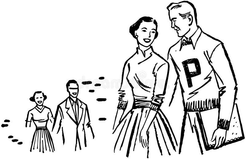 Couples de campus illustration de vecteur