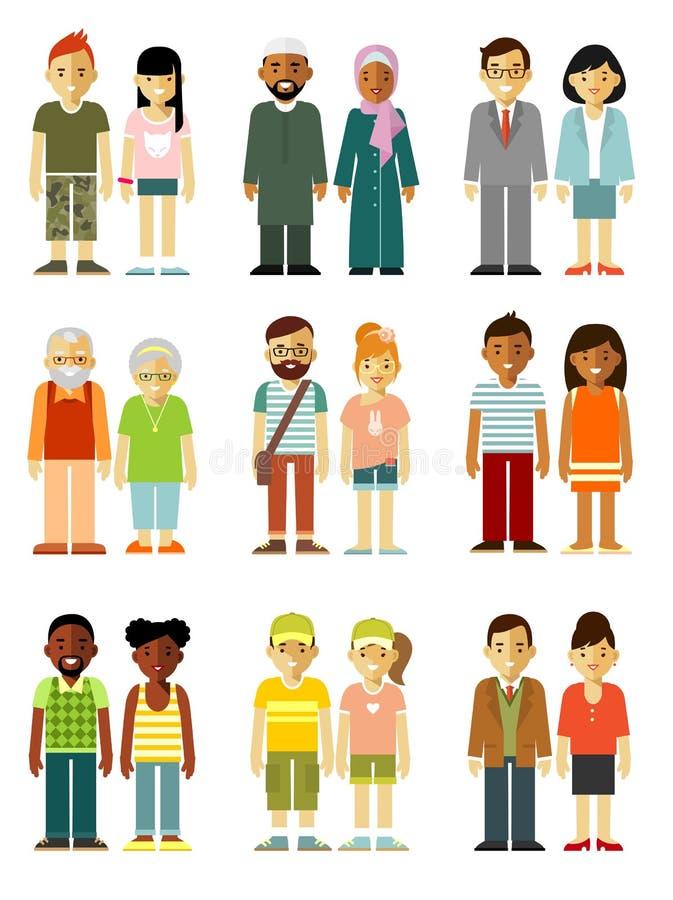 Couples de caractères de personnes se tenant ensemble réglés illustration libre de droits