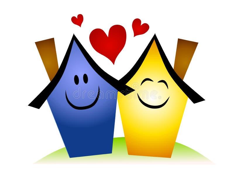 Couples de Chambre souriant dans l'amour sur la côte illustration libre de droits