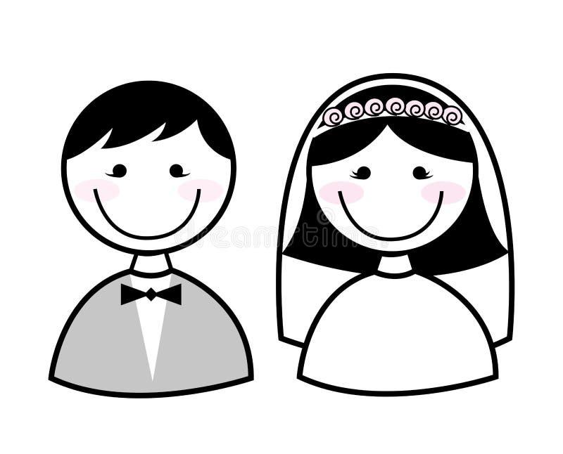 couples de conception d'isolement mariée heureuse d'icône illustration de vecteur