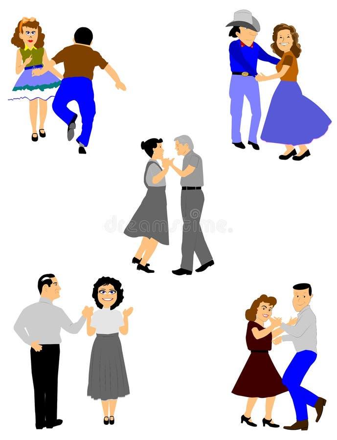 Couples de danse carrée illustration stock