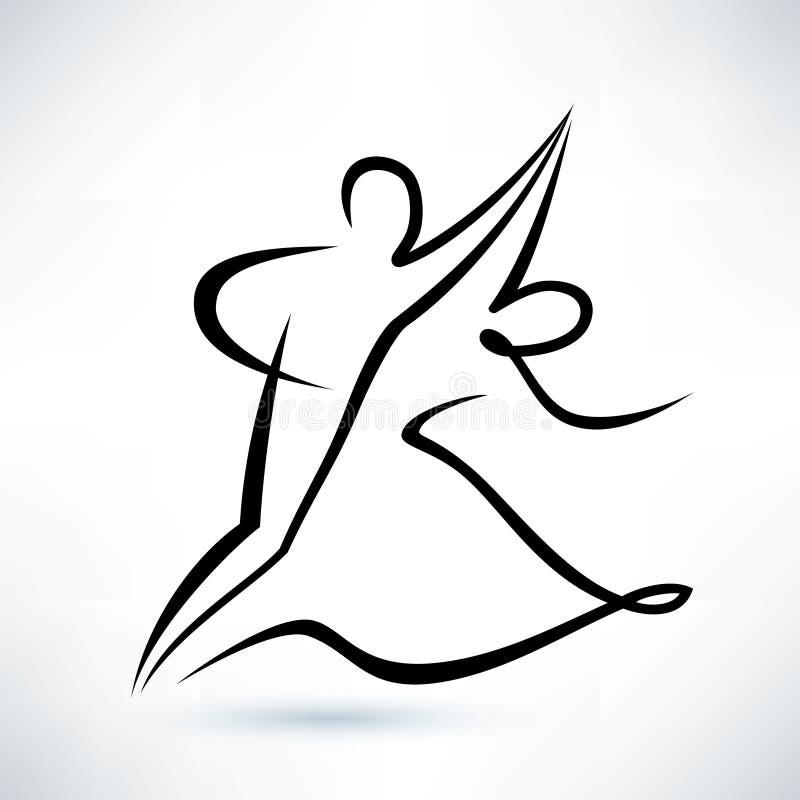 Couples de danse, croquis décrit de vecteur illustration libre de droits
