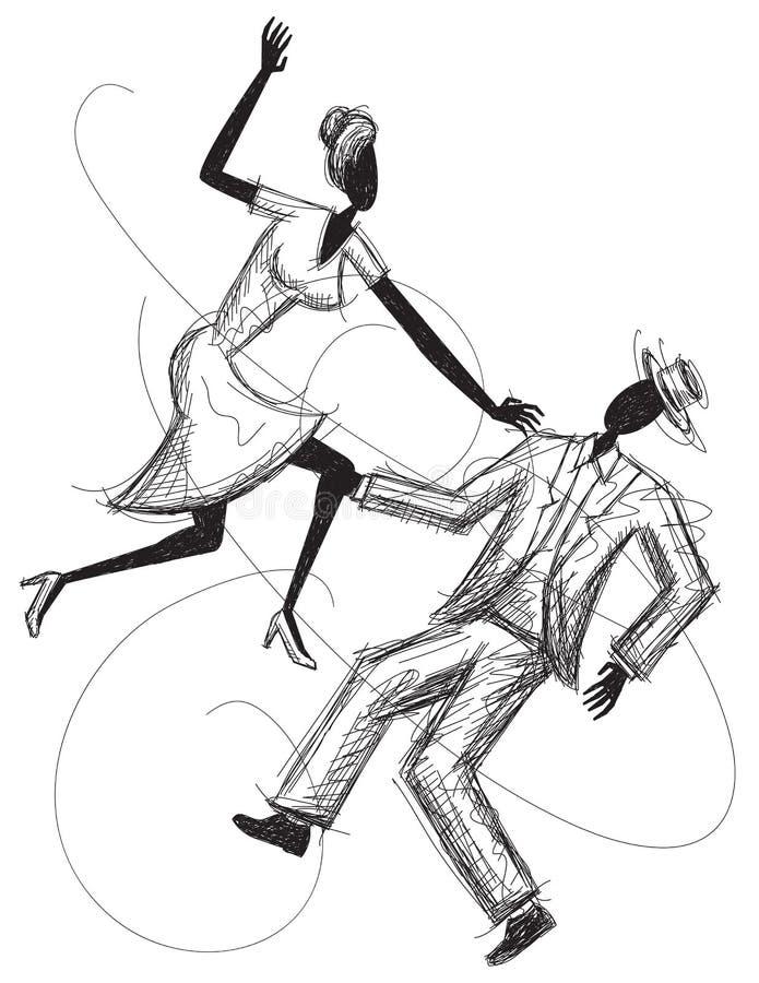 Couples de danse? d'isolement sur le blanc illustration stock