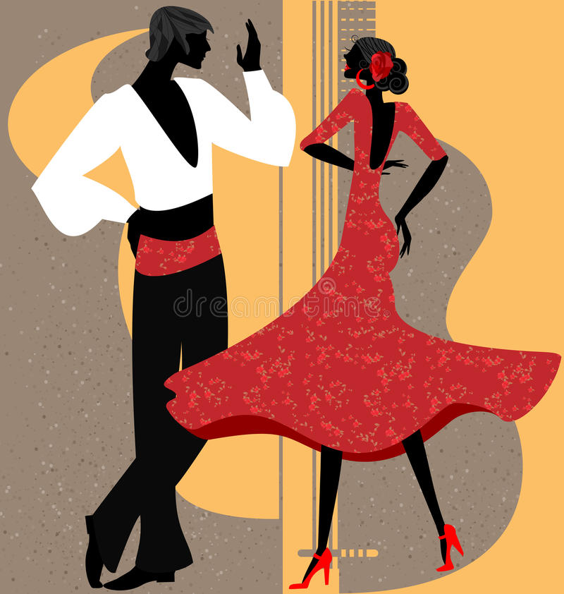 couples de danseur de flamenco illustration libre de droits