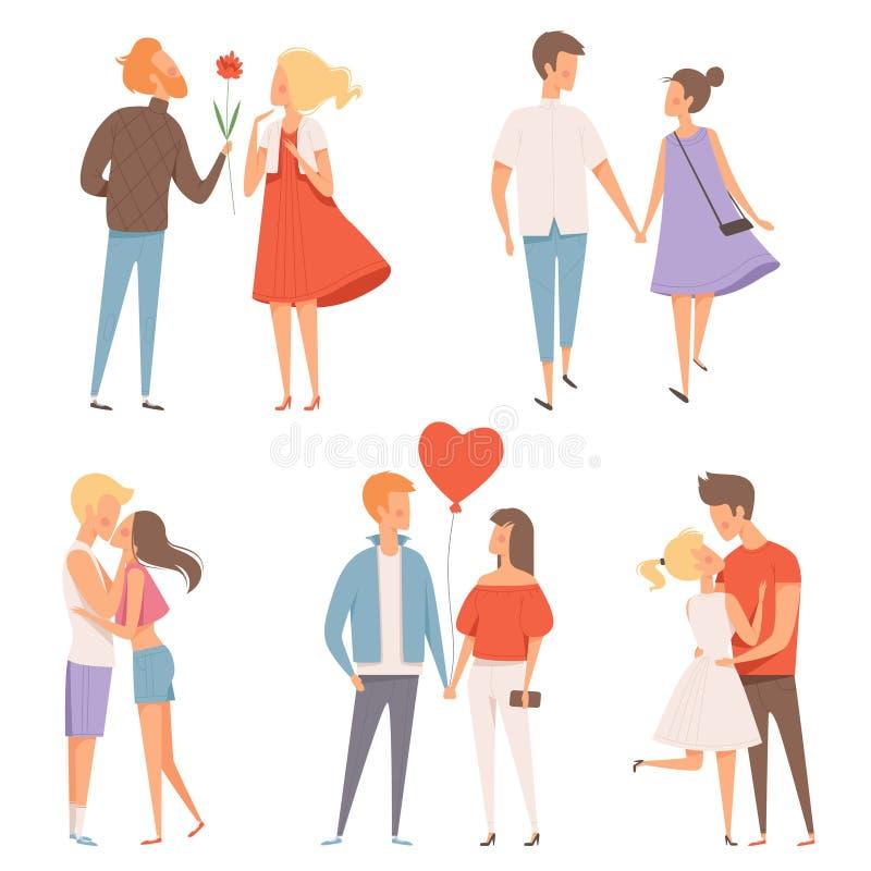 Couples de datation Le St Saint Valentin bonheur du 14 février étreignant les caractères romantiques d'amants dirigent des photos illustration de vecteur
