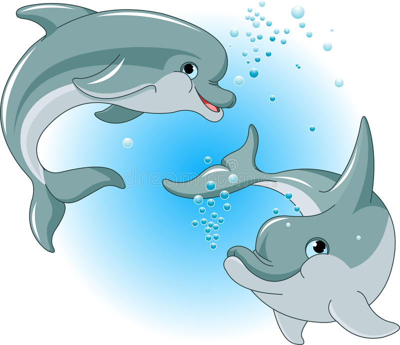 Couples de dauphins illustration stock