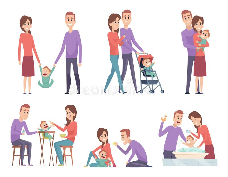 Couples de famille La m?re et le p?re d'amour jouant avec leurs parents heureux de papa de maman de petits enfants dirigent des i illustration stock