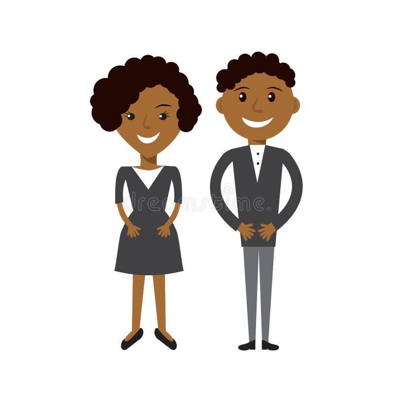 Couples de femme d'affaires et d'homme d'affaires Gens d'affaires afro-américains noirs d'illustration plate illustration stock