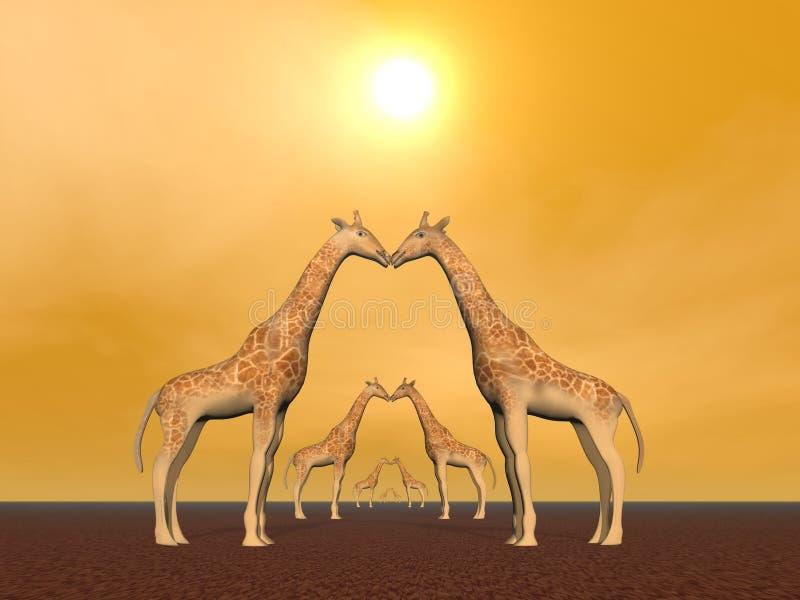 Couples de giraffe illustration libre de droits
