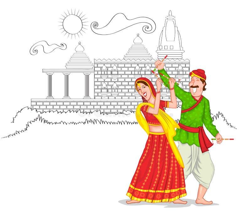 Couples de Gujarati de danse illustration libre de droits