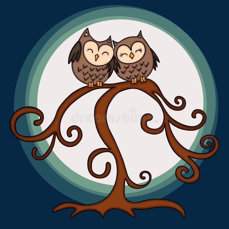 Couples de hibou dans l'arbre sur le fond de nuit illustration de vecteur