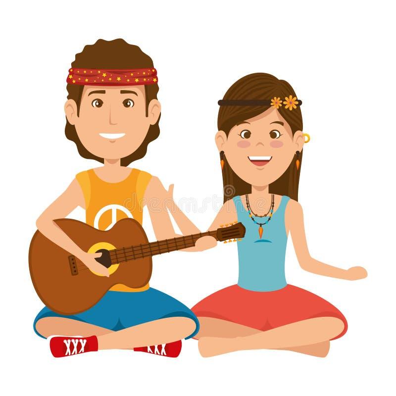 Couples de hippies jouant des caractères de guitare illustration stock