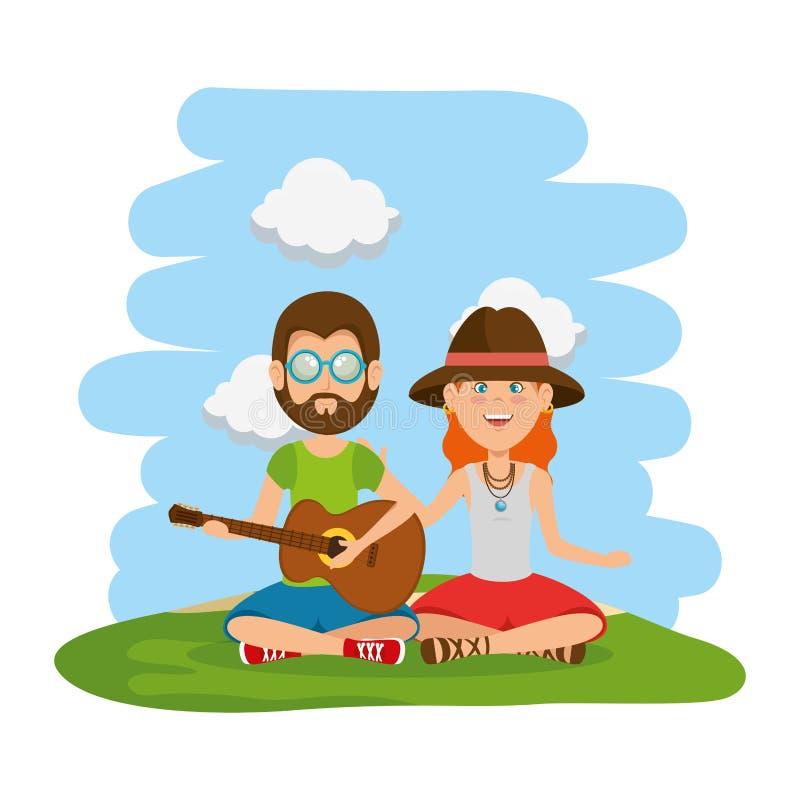 Couples de hippies jouant la guitare dans le domaine illustration stock