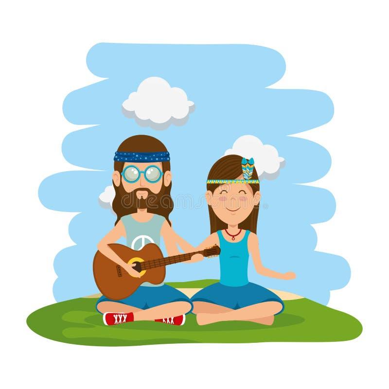 Couples de hippies jouant la guitare dans le domaine illustration de vecteur