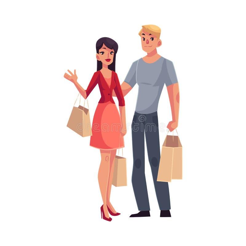 Couples de jeune homme et de femme avec des paniers illustration libre de droits
