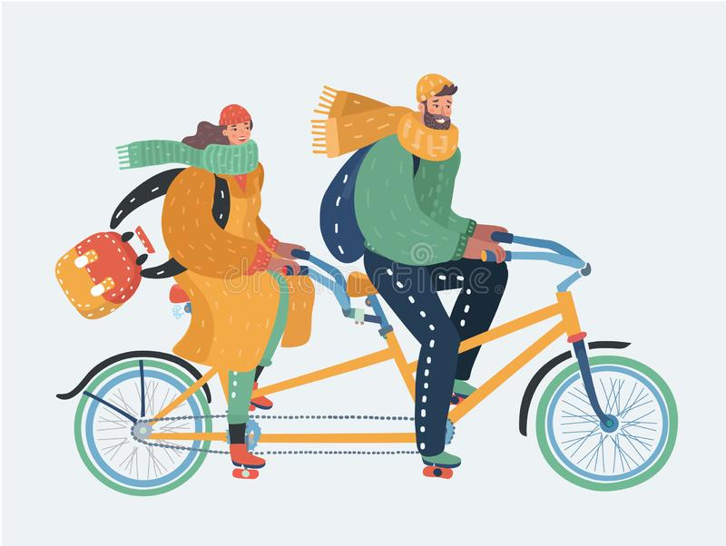 Couples de l'homme et de la femme montant une bicyclette tandem illustration libre de droits