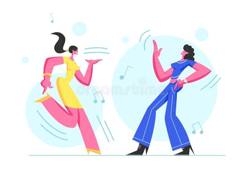 Couples de la danse enthousiaste de jeunes filles en partie de disco Les personnages f?minins heureux dansent gaiement le corps m illustration libre de droits