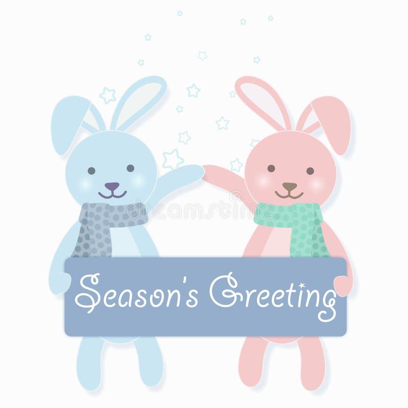 Couples de lapin tenant la voiture de salutation du ` s de saison et d'illustration d'étoile illustration de vecteur