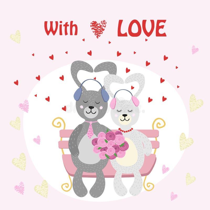 Couples de lapin de Valentine Bunny dans l'amour écoutant la musique avec des écouteurs illustration de vecteur