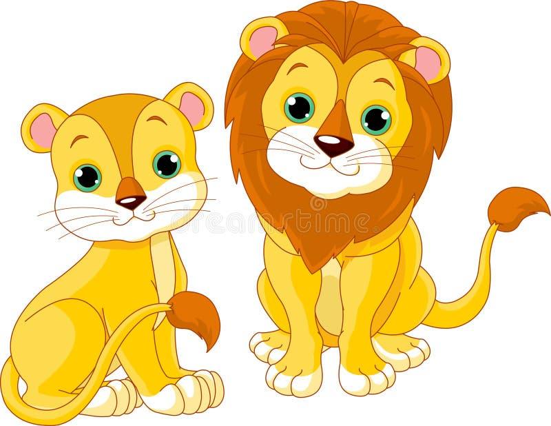 Couples de lion illustration stock