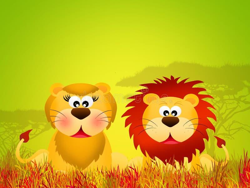 Couples de lions illustration libre de droits