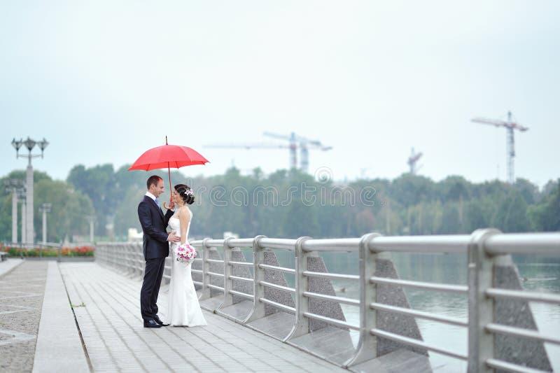 Couples de mariage dans un jour pluvieux photographie stock