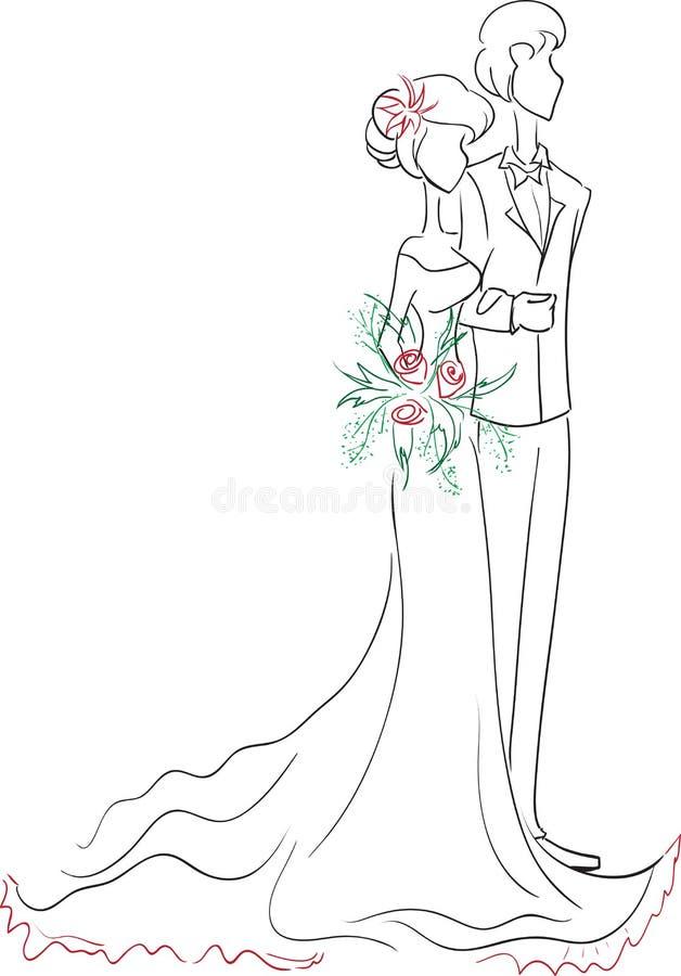 Couples de mariage de croquis illustration de vecteur