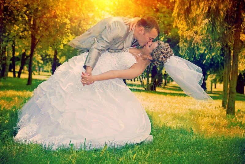 Couples de mariage embrassant en parc au montant d'instagram de coucher du soleil photographie stock