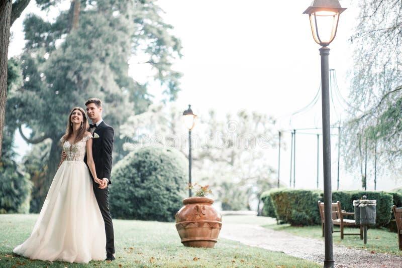Couples de mariage embrassant en parc sous la pluie images stock
