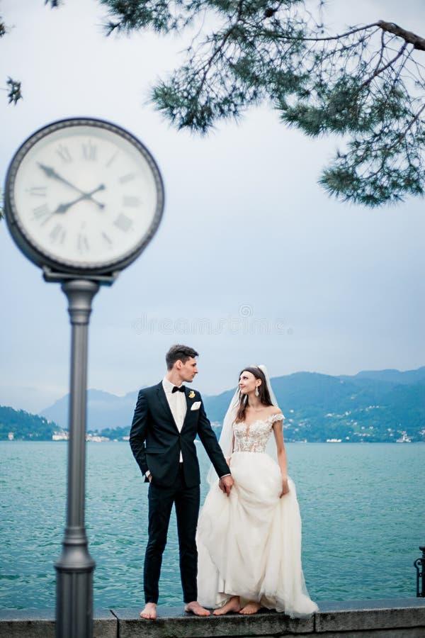 Couples de mariage embrassant sur le fond d'un lac et des montagnes photos libres de droits