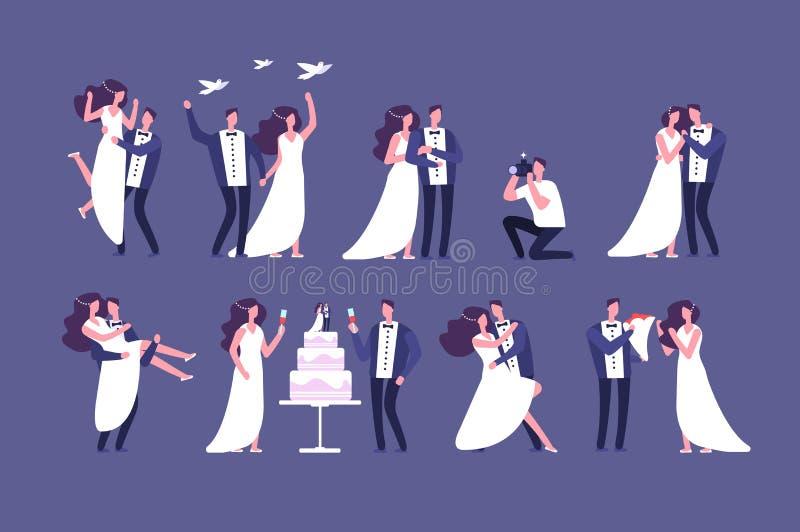 Couples de mariage Jeunes mariés sur la cérémonie de mariage Obtention de l'ensemble d'isolement par caractères mariés de personn illustration stock