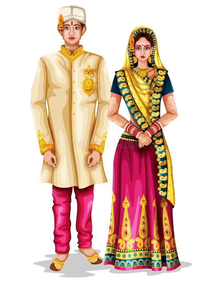 Couples de mariage de Madhya Pradeshi dans le costume traditionnel de Madhya Pradesh, Inde illustration libre de droits