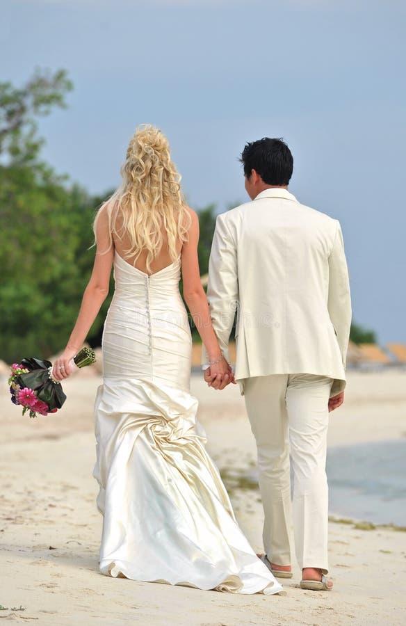 Couples de mariage marchant sur la plage images libres de droits