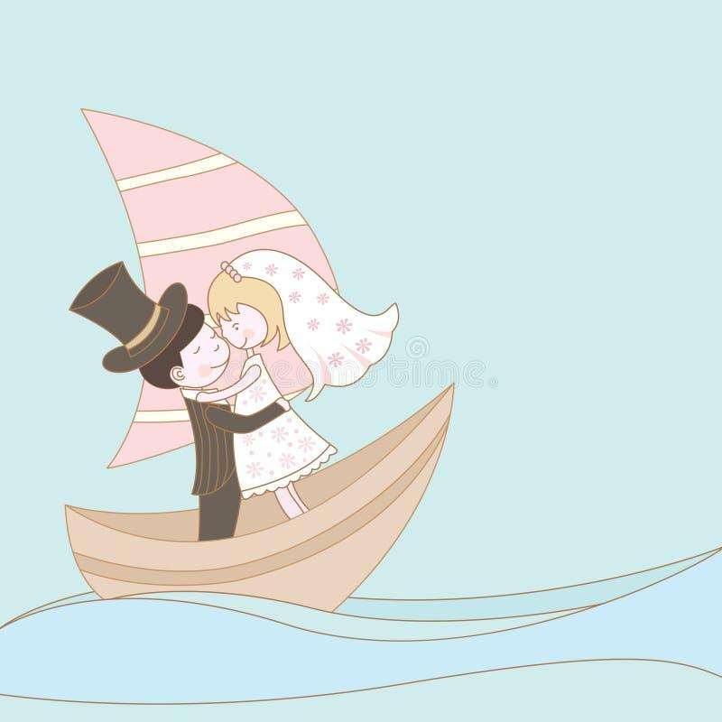 Couples de mariage sur le bateau illustration de vecteur