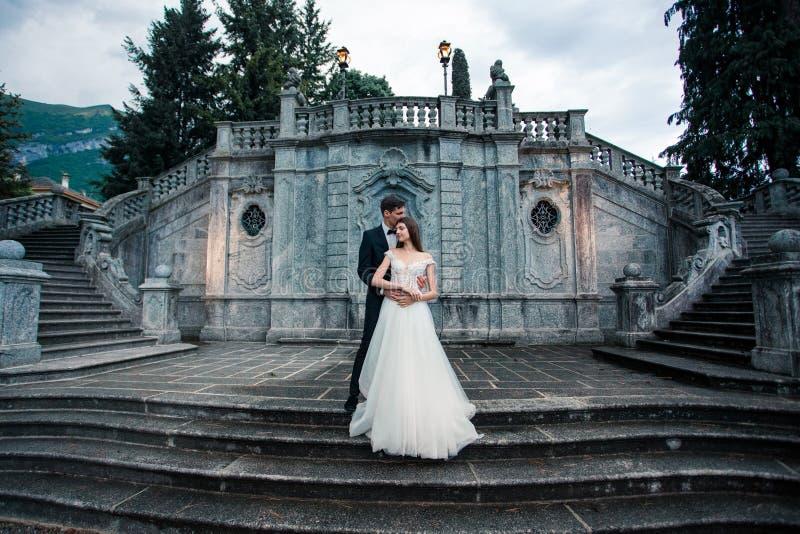 Couples de mariage sur les escaliers en parc photo libre de droits