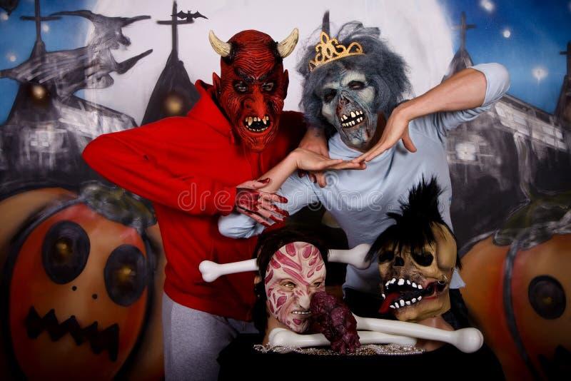 Couples de masque de Veille de la toussaint images stock