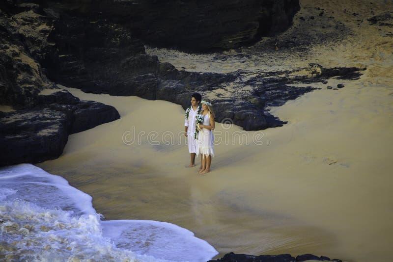 Couples de nouveaux mariés à la plage d'éternité photographie stock libre de droits