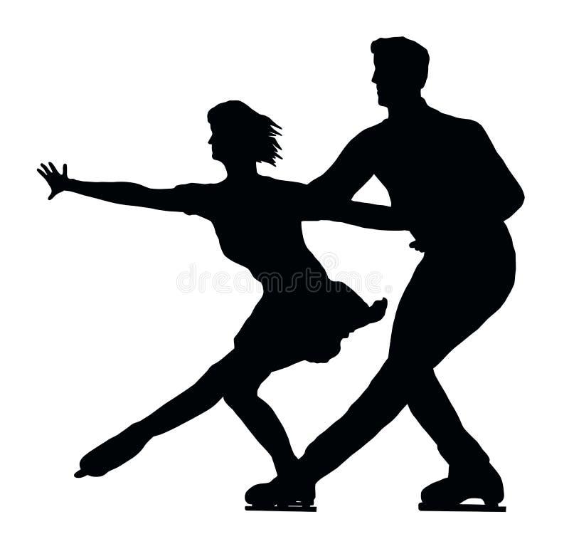 Couples de patineur de glace de silhouette côte à côte illustration libre de droits
