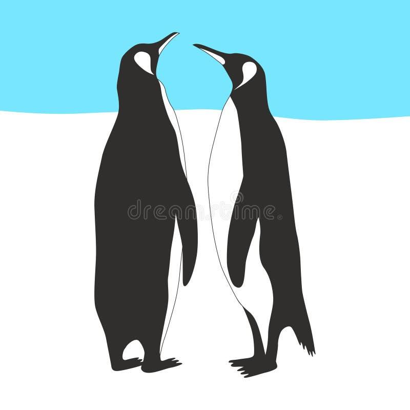 Couples de pingouin illustration de vecteur