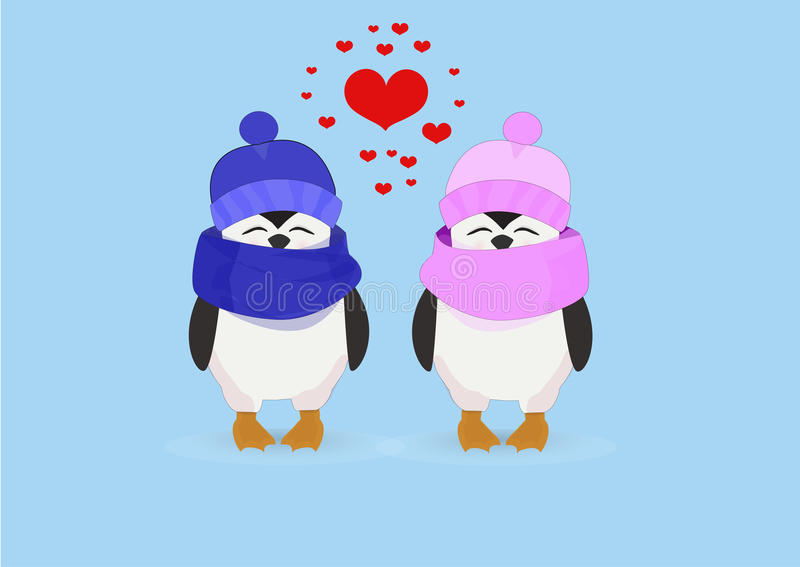 Couples de pingouin dans des chapeaux et coeur sur un fond bleu illustration stock