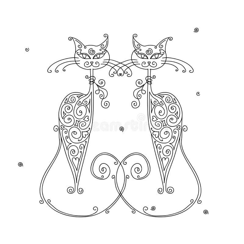 Couples de silhouette de chats pour votre conception illustration libre de droits
