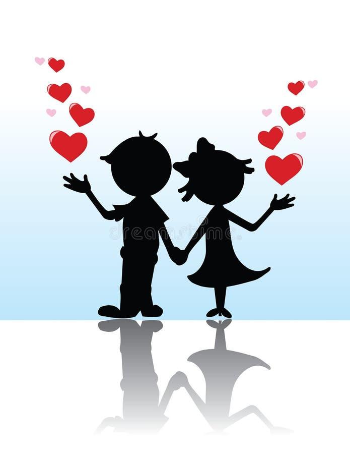 Couples de silhouette de Valentine illustration libre de droits