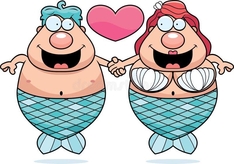 Couples de sirène de bande dessinée illustration de vecteur