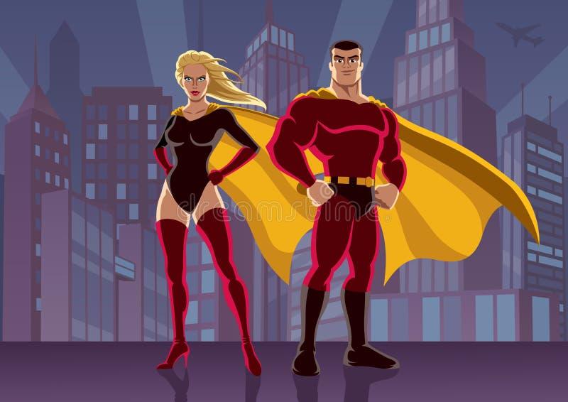 Couples 2 de super héros illustration de vecteur