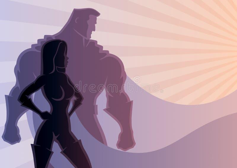 Couples 3 de super héros illustration libre de droits