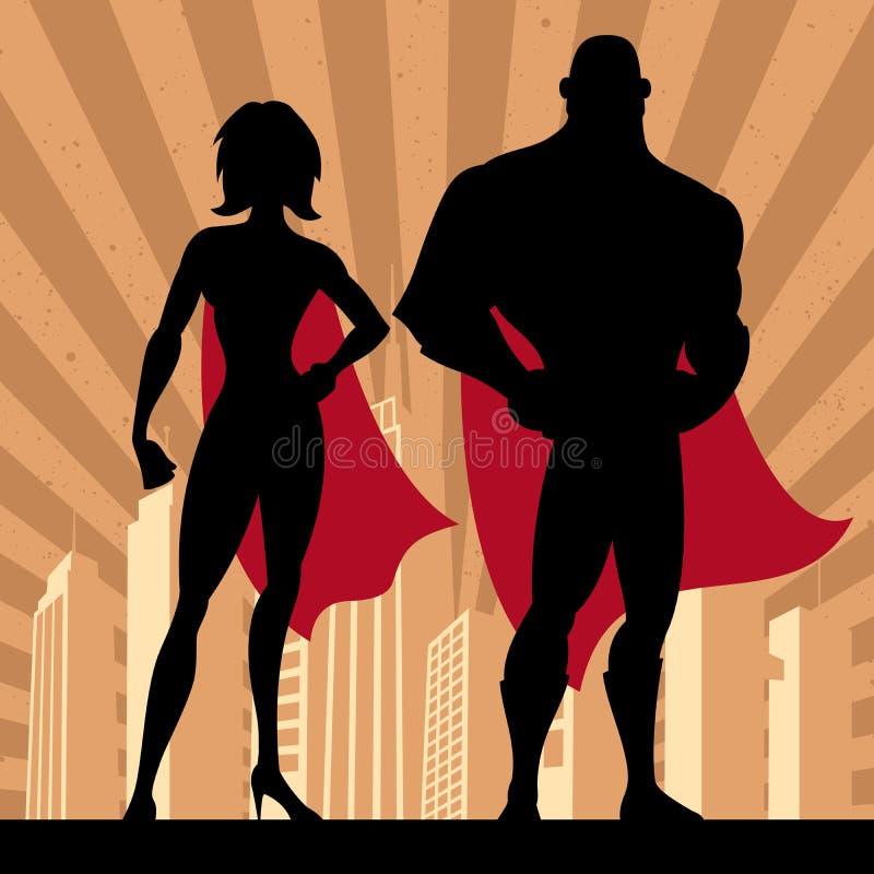 Couples 4 de super héros illustration libre de droits