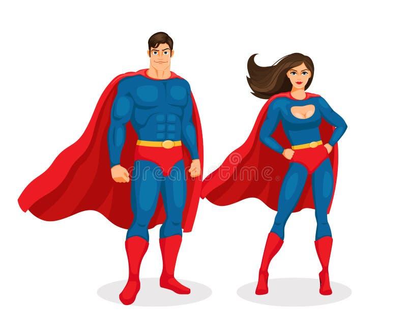 Couples de super héros de vecteur illustration de vecteur